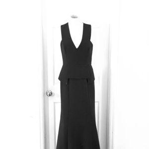 Long Formal Gown with Peplum Waist